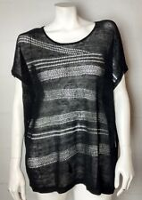 NWT Chico's Travelers Black Open Knit Sleeveless Sweater Size 2 (Chico's Sizing)