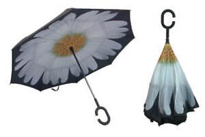 REVERS Umgekehrter Regenschirm Schirm Windsicher 2-Schicht Blume