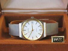 Vintage Dufonte By Lucien Piccard Two Tone Tone Quartz Wrist Watch Mens