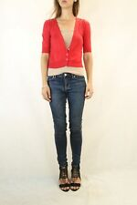 COUNTRY ROAD Red Cotton Knit Cropped Cardigan Size XS (8)