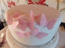 40 Small PRECUT Pink Edible wafer/rice paper Butterflies cake/cupcake toppers