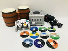 Nintendo GameCube Platinum Silver Console With Bongos & 10 Games Bundle!!!!!