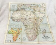 1950 Vintage Map of Africa Middle East Arabian Peninsula National Geographic