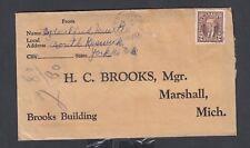 CANADA 1939 2C MUFTI COVER MOUTH OF KESWICK NEW BRUNSWICK TO MICHIGAN USA