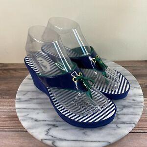 Clarks Borla Blue White Striped Wedge Thong Sandals Womens Size 6