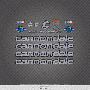 0721 Cannondale RT3000 Bicycle Stickers - Decals - Transfers - Silver/Black