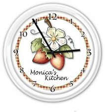 Strawberry Kitchen Personalized Wall Clock - Country Garden - GREAT GIFT