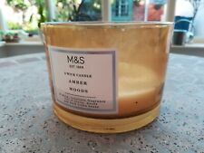 *EMPTY* M&S CANDLE GLASS JAR - Amber Woods *candle making, crafts*