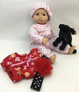 American Girl Bitty Baby Doll Light Skin Blonde Hair Blue Eyes Dressed