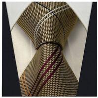 Men's Brown & Red Necktie - Jacquard Woven Striped Tie - Scott Allan Tie