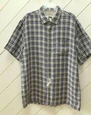 NWOT-New_100% Linen_JOSEPH ABBOUD Short Sleeve Shirt_Sz.XL_Blues & Grays Check