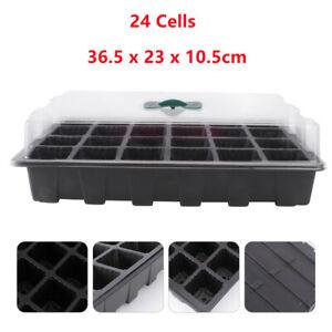 24 Cells Seed Trays Set Seedling Starter Tray Germination Plant Pots Grow Box UK