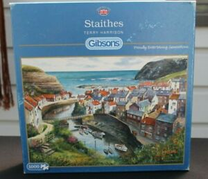 Gibsons 1000 piece jigsaw - Staithes, Terry Harrison. VGC. Complete