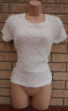 CAMEO ROSE WARM WHITE FLUFFY HAIRY SHAGGY PARTY WINTER JUMPER TOP CARDIGAN 8 S