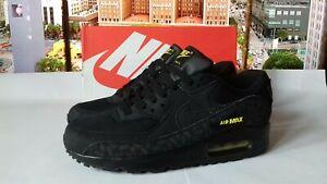 Nike Air Max 90 Black VOLT Neon Yellow Black Tick Mens Trainers (UK Size 8)