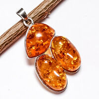 BALTIC AMBER GEMSTONE 925 STERLING SILVER PLATED PENDANT JEWELRY #SJPT-1011FX
