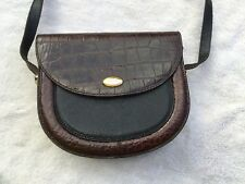 Bally Crossbody Bag, Vintage, Leather, Black & Brown, Embossed Crocodile