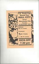 Hull City v Manchester City FA Youth Cup Football Programme 1992/93