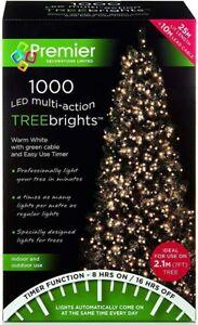 Premier 1000 LED Multi-Action TreeBrights Christmas Tree Lights Timer WARM WHITE