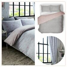 """METRO PRISM TRIANGLE DOUBLE DUVET COVER SET + CURTAINS FULLY LINED 66"""" x 72"""""""