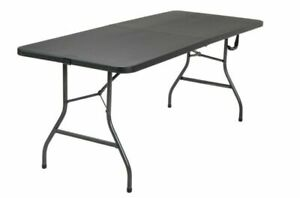 Cosco 6 Foot Centerfold Folding Table, Black