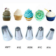 5pcs Large Metal Cake Cream Decoration Tips Stainless Steel Piping Icing Nozzles