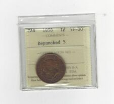 **1858** ICCS Graded Canadian, Large One Cent, **VF-30**Repunched 5