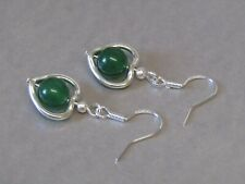 Dark Green Jade Encased Love Heart Drop Sterling Silver Earrings. Stunning!