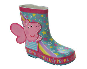 GIRLS 3D PEPPA PIG PINK FAIRY WELLIES RAIN SNOW WELLINGTON BOOTS UK SIZE 5-10
