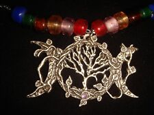 Triple Moon Goddess Tree of Life w Vines Necklace/Altar Pendant w Leaf Toggle