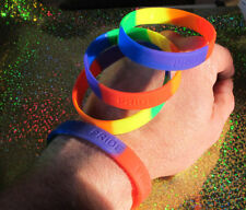 RAINBOW LGBT Pride Silicone Gay  Lesbian Wristband Bracelet