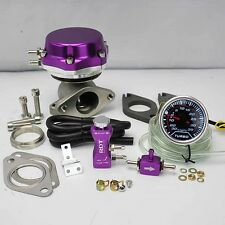 "PURPLE WASTEGATE 8+6 PSI +BOOST CONTROLLER 30PSI +2"" DIGITAL 35PSI BOOST GAUGE"