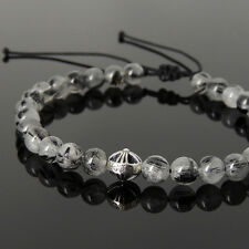 Mens Healing Braided Bracelet Black Rutilated Quartz Sterling Silver Cross 1076M