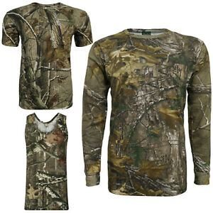 Men's Jungle Camo Print T-shirt Realtree Camouflage Forest Top Long Sleeve Army