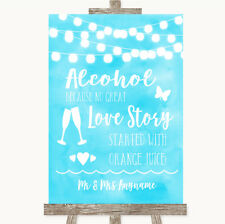 Wedding Sign Poster Print Aqua Sky Blue Watercolour Lights