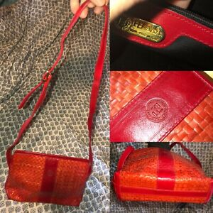 FENDI Vintage Red Woven Leather Small Shoulder Bag Italy Good Condition Unique