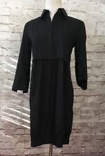 THEORY Black Genevra Shirt Dress w/ Bubble Skirt  Collar Stretch Cotton -Size 2