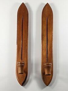 Vintage Homco Japan Wooden Candlesticks Candle Holders Scandi Minimalist MCM
