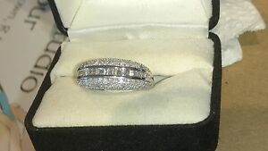 14kt White Gold Ring 1.4 CARATS Total Diamond Weight Unique Bling Ring !