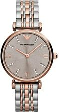 *NEW* EMPORIO ARMANI LADIES WATCH AR1840 SILVER ROSE GOLD - 2 YEARS WARRANTY