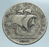 1954 PORTUGAL with PORTUGUESE SAILING SHIP Genuine Silver 10 Escudos Coin i84171