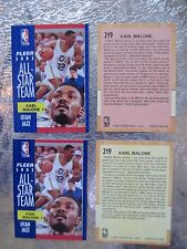 Karl Malone Error / Variation Card 1991-92 Fleer All-Star #219 Pink Yellow Back