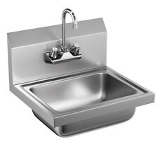 Stainless Steel Wall Mount Hand Washing Sink Basin Commercial Durable W/Faucet