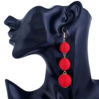 Boho Women's Earrings Fashion Pom Pom Ball Long Dangle Drop Stud Earring Jewelry