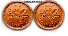2011 CANADA, 2X 1 CENT CANADIN PENNY, MAGNETIC.UNC.ONE CENT.US SELLER.