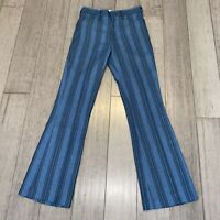 Vtg 60s 70s HIS Pants 28 x 30 Blue Striped Disco Midcentury Mod Mens Flare Leg