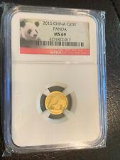 NGC CHINA PANDA 2015 999 Fine Gold MS69 1/20 OZ GOLD 20 YUAN GEM BU MINT