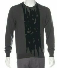 1.3K Auth NWT Alexander McQUEEN Charcoal Black DESIGN 100% Wool SWEATER Size XL
