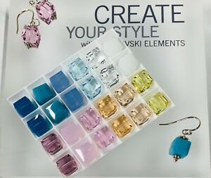 Genuine Swarovski® Crystal 8mm Cubes #5601 - Multi Color - 24 PC. TRAY