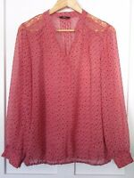 M&CO PINK LONG SLEEVE BLOUSE/TOP PRETTY LACE DETAIL ALL OVER BIRD PRINT SIZE 14
